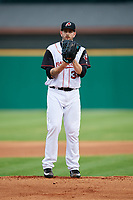 Arkansas Travelers starting pitcher James Paxton (38) looks in for the sign during a game against the Frisco RoughRiders on May 26, 2017 at Dickey-Stephens Park in Little Rock, Arkansas.  Arkansas defeated Frisco 4-2.  (Mike Janes/Four Seam Images)