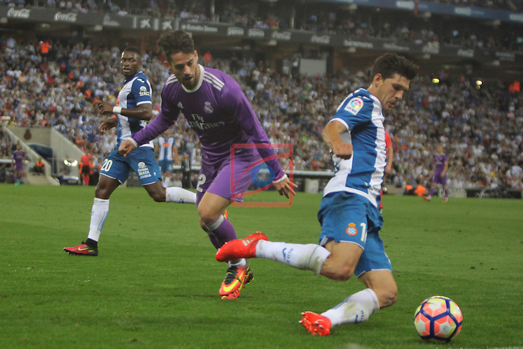 League Santander 2016/2017. Game: 4.<br /> RCD Espanyol vs R. Madrid: 0-2.<br /> Javi Lopez vs Francisco Alarcon 'Isco'.