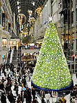 Christmas tree in Eaton Centre Toronto shopping mall. Toronto Ontario Canada.
