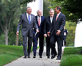 Washington, DC - October 6, 2009 -- United States House Majority Leader Steny Hoyer (Democrat of Maryland), left, U.S. Senator John McCain (Republican of Arizona), left center, U.S. Senate Republican Leader Mitch McConnell (Republican of Kentucky), right center, and U.S. House Republican Leader John Boehner (Republican of Ohio), right, share some thoughts as they leave a meeting with United States President Barack Obama on the U.S. strategy in Afghanistan on Tuesday, October 6, 2009..Credit: Ron Sachs / Pool via CNP