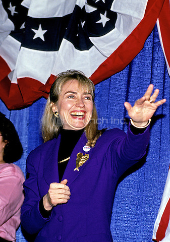 Hillary Rodham Clinton, wife of Governor Bill Clinton (Democrat of Arkansas) attends a rally for her husband at Hesser Business College in Manchester, New Hampshire on February 17, 1992.  The Clintons were campaigning in advance of New Hampshire's &quot;First in the Nation&quot; presidential primary.<br /> Credit: Ron Sachs / CNP/MediaPunch