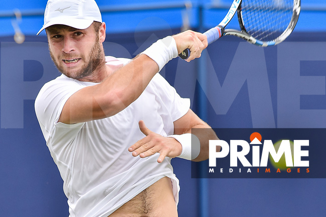 Luke BAMBRIDGE In action during the Aegon International Eastbourne tennis tournament match between Luke BAMBRIDGE (GBR) v Marek JALOVIEC (CZE) at Devonshire Park, Eastbourne, England on 24 June 2017. Photo by Edward Thomas/PRiME Media Images.