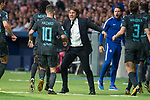 Chelsea's Eden Hazard, coach Antonio Conte and Marcos Alonso during UEFA Champions League match between Atletico de Madrid and Chelsea at Wanda Metropolitano in Madrid, Spain September 27, 2017. (ALTERPHOTOS/Borja B.Hojas)