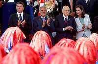 Da sinistra, il Presidente del Consiglio Matteo Renzi, il Presidente del Senato Pietro Grasso, il Presidente della Repubblica Giorgio Napolitano ed il Presidente della Camera dei Deputati Laura Boldrini alla parata militare per la Festa della Repubblica, a Roma, 2 giugno 2014.<br /> From left, Italian Premier Matteo Renzi, Senate President Pietro Grasso, Italian President Giorgio Napolitano and Italy's Lower Chamber of Deputies' President Laura Boldrini attend the military parade on the occasion of the Republic Day in Rome, 2 June 2014.<br /> UPDATE IMAGES PRESS/Riccardo De Luca