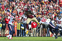 Landover, MD - November 18, 2018: Washington Redskins tight end Vernon Davis (85) catches a pass during the  game between Houston Texans and Washington Redskins at FedEx Field in Landover, MD.   (Photo by Elliott Brown/Media Images International)