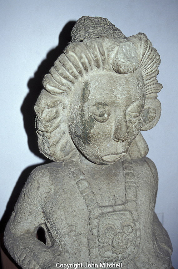 Pre-Hispanic sculpture of Young Corn God, Museum of Anthropology and History, San Pedro Sula, Honduras