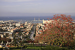 Israel, Mount Carmel, a view of Haifa from the Bahai Garden