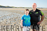 Jason McCannon, from Knockgorm, Tralee with son Ronin    McCannon Rescued Three young women  when the tide came in at Poul Ghorm beach Barrow on Sunday