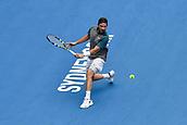 11th January 2018, Sydney Olympic Park Tennis Centre, Sydney, Australia; Sydney International Tennis,quarter final; Adrian Mannarino (ITA) hits a backhand in his match against Fabio Fognini (ITA)
