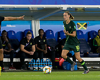 GRENOBLE, FRANCE - JUNE 18: Emily Van Egmond #10 of the Australian National Team brings the ball forward during a game between Jamaica and Australia at Stade des Alpes on June 18, 2019 in Grenoble, France.
