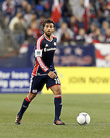 New England Revolution substitute midfielder Juan Toja (18) looks to pass. Despite a red-card man advantage, in a Major League Soccer (MLS) match, the New England Revolution tied New York Red Bulls, 1-1, at Gillette Stadium on September 22, 2012.