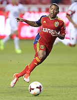 Joao Plata #8 of Real Salt Lake moves the ball down field during a game against of D.C. United during the first half of the U.S. Open Cup Final on October  1, 2013 at Rio Tinto Stadium in Sandy, Utah.