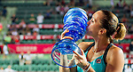 Jelena Jankovic of Serbia vs  Angelique Kerber of Germany during the final game of the WTA Prudential Hong Kong Tennis Open at the Victoria Pack Stadium on 17 October 2015 in Hong Kong, China. Photo by Aitor Alcalde / Power Sport Images