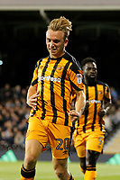 GOAL - Jarrod Bowen of Hull City ties the score during the Sky Bet Championship match between Fulham and Hull City at Craven Cottage, London, England on 13 September 2017. Photo by Carlton Myrie.