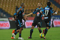 MEDELLÍN -COLOMBIA-01-04-2014. Jugadores de Millonarios durante partido de la fecha 14 en la Liga Postobón I 2014 realizado en el estadio Atanasio Girardot de la ciudad de Medellín./  Millonarios players during 14th date of Postobon  League I 2014 at Atanasio Girardot stadium in Medellin city. Photo: VizzorImage/Luis Ríos/STR