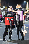 © Joel Goodman - 07973 332324 . 27/12/2016 . Wigan , UK . Two women wearing home-made Henry and Hetty vacuum cleaner costumes . Revellers in Wigan enjoy Boxing Day drinks and clubbing in Wigan Wallgate . In recent years a tradition has been established in which people go out wearing fancy-dress costumes on Boxing Day night . Photo credit : Joel Goodman