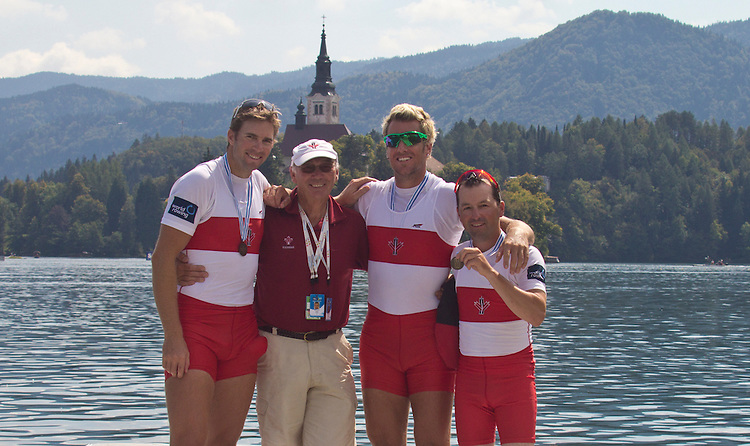 Rowing, 2011 FISA World Rowing Championships, Lake Bled, Bled, Slovenia, Europe, Rowing Canada Aviron, Canada Lightweight men's coxed pair, Bow: Kevin Light (Sidney, BC) Victoria City RC, Stroke: Steven Van Knotsenburg (Beamsville, ON) Ridley Graduate Boat Club, Cox: Brian Price, Third Place, bronze medal, Final, September 2, 2011, Coach: Michael Spracklen,