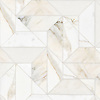 Zachary Grand, a hand-cut stone mosaic, show in polished Calacatta Gold.