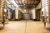 stainless steel tanks. Bodega Del Anelo Winery, also called Finca Roja, Anelo Region, Neuquen, Patagonia, Argentina, South America