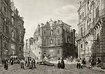 Old illustration of Quattro Cantoni in Palermo, Italy. Original engraving was created by B. Rosaspina and is datable to the first half of 19th c.
