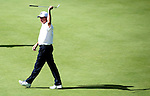 CALGARY, AB. - AUGUST 31: Fred Couples celebrates after chipping in for an eagle on the 18th hole of regulation during the final round of the Shaw Charity Classic at the Canyon Meadows Golf & Country Club  on August 31, 2014 in Calgary, Canada. Couples won the tournament in a playoff with Billy Andrade. (Photo by Steve Dykes/Getty Images) *** Local Caption *** Fred Couples