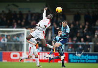 Enzio Boldewijn of Crawley Town & Michael Harriman of Wycombe Wanderers during the Sky Bet League 2 match between Wycombe Wanderers and Crawley Town at Adams Park, High Wycombe, England on 25 February 2017. Photo by Andy Rowland / PRiME Media Images.