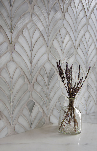 Margot, a glass waterjet mosaic, shown in Alabaster jewel glass