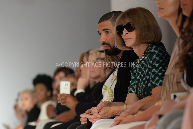 WWW.ACEPIXS.COM<br /> September 15, 2015 New York City<br /> <br /> Drake and Anna Wintour attending the KIA STYLE360 Hosts Serena Williams Signature Collection By HSN on September 15, 2015 in New York City.<br /> <br /> Credit: Kristin Callahan/ACE Pictures<br /> <br /> Tel: (646) 769 0430<br /> e-mail: info@acepixs.com<br /> web: http://www.acepixs.com