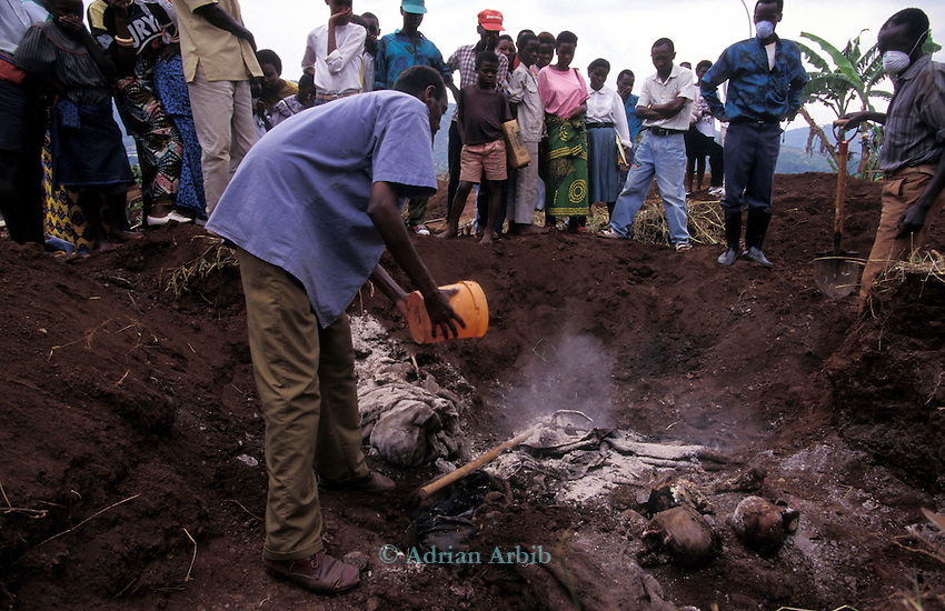 A mass grave containing 2,000 bodies of some of those killed in the 1994  Genocide is uncovered at Kigali Hospital, Rwanda.
