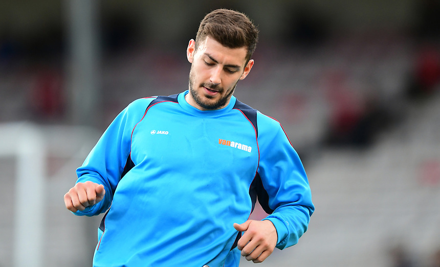 Lincoln City's Jonny Margetts during the pre-match warm-up <br /> <br /> Photographer Chris Vaughan/CameraSport<br /> <br /> Vanarama National League - Lincoln City v Chester - Tuesday 11th April 2017 - Sincil Bank - Lincoln<br /> <br /> World Copyright &copy; 2017 CameraSport. All rights reserved. 43 Linden Ave. Countesthorpe. Leicester. England. LE8 5PG - Tel: +44 (0) 116 277 4147 - admin@camerasport.com - www.camerasport.com