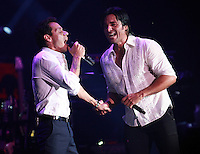 MIAMI, FL - AUGUST 3, 2012: Marc Anthony and Chayanne during the Gigant3s concert featuring, Marc Anthony, Chayanne and Marco Anotonio Solis at the American Airlines Arena in Miam, Florida. August 3, 2012. © Majo Grossi/MediaPunch Inc. /NortePhoto.com<br />