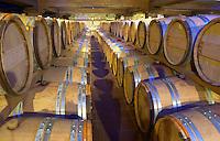 Oak barrel aging and fermentation cellar. Domaine Gerovassiliou, Epanomi, Macedonia, Greece.