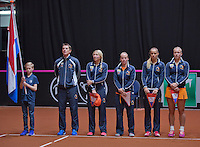 April 18, 2015, Netherlands, Den Bosch, Maaspoort, Fedcup Netherlands-Australia,  Presentation, Dutch team, l.t.r.: Captain Paul Haarhuis, Micha&euml;lla Krajicek, Richel Hogenkamp, Arantxa Rus and Kiki Bertens<br /> Photo: Tennisimages/Henk Koster
