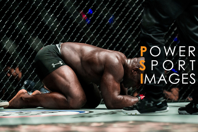 Alain Ngalani of Hong Kong reacts during his combat against Alexandre Machado of Brazil on 13 August 2016 at The Venetian Macao Cotai Arena in Macau, China. Photo by Marcio Machado / Power Sport Images