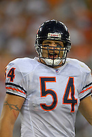 Oct. 16, 2006; Glendale, AZ, USA; Chicago Bears linebacker (54) Brian Urlacher yells at a referee against the Arizona Cardinals at University of Phoenix Stadium in Glendale, AZ. Mandatory Credit: Mark J. Rebilas