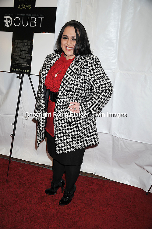 """actress Nikki Blonsky..attending The New York Premiere of """"Doubt"""" starring ..Meryl Streep, Philip Seymour Hoffman, Viola Davis, Amy Adams and written and directed by John Patrick Shanley on December 7, 2008 at The Paris Theatre in New York City.....Robin Platzer, Twin Images"""