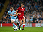 Manchester City's Gabriel Jesus tussles with Liverpool's Trent Alexander-Arnold during the Champions League Quarter Final 2nd Leg match at the Etihad Stadium, Manchester. Picture date: 10th April 2018. Picture credit should read: David Klein/Sportimage