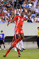 Felipe Baloy (23) of Panama heads the ball. The United States (USA) defeated Panama (PAN) 2-1 during a quarterfinal match of the CONCACAF Gold Cup at Lincoln Financial Field in Philadelphia, PA, on July 18, 2009.