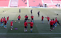 Fleetwood Town warming up prior to the Sky Bet League 1 match between Doncaster Rovers and Fleetwood Town at the Keepmoat Stadium, Doncaster, England on 17 February 2018. Photo by Leila Coker / PRiME Media Images.