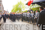 Munster Rugby Players carry the Coffin at Donal Walsh's funeral at Saint Johns Church, Tralee on Wednesday.