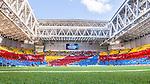 Stockholm 2014-08-31 Fotboll Allsvenskan Djurg&aring;rdens IF - Malm&ouml; FF :  <br /> Vy &ouml;ver Tele2 Arena innan matchen med Djurg&aring;rdens supportrar som har tifo p&aring; l&auml;ktarna<br /> (Foto: Kenta J&ouml;nsson) Nyckelord:  Djurg&aring;rden DIF Tele2 Arena Malm&ouml; MFF inomhus interi&ouml;r interior