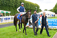 Winner of The Gift Of Sight Appeal EBF Novice Stakes Div 1    Cap Francais ridden by Andrea Atzeni and trained by Ed Walker is led into the winners enclosure  during the Bathwick Tyres & EBF Race Day at Salisbury Racecourse on 6th September 2018