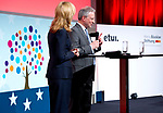 Brussels-Belgium - April 27, 2017 -- European Dialogue 2017 'EUROPE: REWRITE THE RULES FOR SHARED PROSPERITY', organized by Hans Boeckler Foundation in conjunction with the European Trade Union Institute / ETUI, at Albert Hall; here, Melinda Crane, Deutsche Welle TV, moderator of the event; with Michael Guggemos, Spokesman for the Management Board of the Hans-Boeckler-Foundation -- Photo © HorstWagner.eu