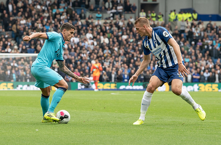 Tottenham Hotspur's Erik Lamela (left) under pressure from Brighton & Hove Albion's Dan Burn (right) <br /> <br /> Photographer David Horton/CameraSport<br /> <br /> The Premier League - Brighton and Hove Albion v Tottenham Hotspur - Saturday 5th October 2019 - The Amex Stadium - Brighton<br /> <br /> World Copyright © 2019 CameraSport. All rights reserved. 43 Linden Ave. Countesthorpe. Leicester. England. LE8 5PG - Tel: +44 (0) 116 277 4147 - admin@camerasport.com - www.camerasport.com