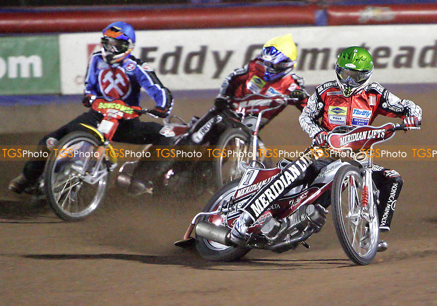 Arena Essex Hammers vs Peterborough Panthers - Elite League Knockout Cup 1st Round, 1st Leg 31/03/06 - Heat 1 - Hans Andersen leads out ahead of Tomas Bajerski (yellow) and Henning Bager - (Gavin Ellis 2006)
