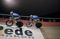 Kenny De Ketele (BEL/SportVlaanderen-Baloise) &amp; Moreno De Pauw (BEL/SportVlaanderen-Baloise) going for the (Kuipke fastest lap) track record<br /> <br /> Ghent 6day<br /> Belgium 2017