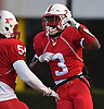 Justin Lescouflair #3 of Freeport, right, gets congratulated after recovering a blocked Uniondale punt and returning it 23 yards for a touchdown in the first quarter of the Nassau County football Conference I semifinals at Shuart Stadium in Hempstead on Saturday, Nov. 10, 2018.