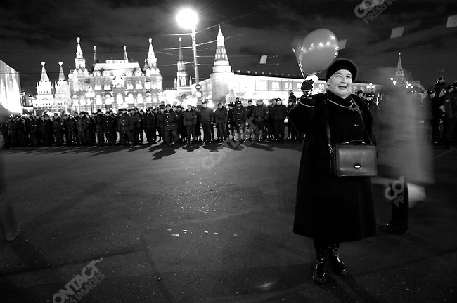 Members of the Russian Communist party, some dressed in old style uniforms, some carrying portraits of Lenin, celebrated the 90th anniversary of the Russian revolution in central Moscow, as police blocked off access to Red Square and the Kremlin, November 7, 2007