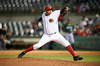 Florida Fire Frogs relief pitcher Andres Santiago (38) delivers a pitch during a game against the Daytona Tortugas on April 6, 2017 at Osceola County Stadium in Kissimmee, Florida.  Daytona defeated Florida 3-1.  (Mike Janes/Four Seam Images)