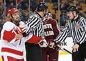 Cason Hohmann (BU - 7), Chris Aughe, Marc Sullivan - The Boston College Eagles defeated the Boston University Terriers 3-1 (EN) in their opening round game of the 2014 Beanpot on Monday, February 3, 2014, at TD Garden in Boston, Massachusetts.